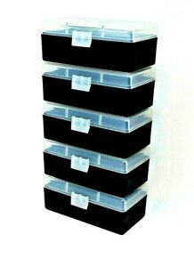 BERRY#x27;S PLASTIC AMMO BOXES 5 CLEAR BLACK 50 ROUND 223 5.56 $25.00