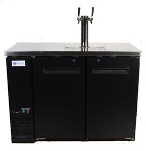 A c e Commercial Kegerator Beer Dispenser 48 inch Wide Single Tower 2 Taps