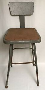 Vtg Industrial Metal Chair Drafting Stool Steampunk Adjustable One Left