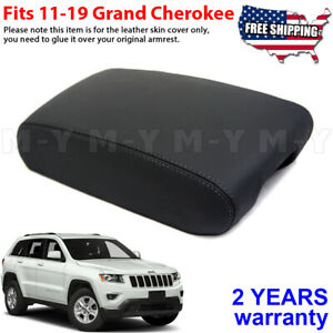 Fits 11 19 Jeep Grand Cherokee Leather Center Console Lid Armrest Cover Black