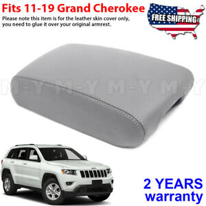 Fits 11 19 Jeep Grand Cherokee Leather Center Console Lid Armrest Cover Gray