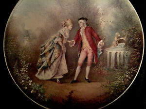 French Regency Style Romanticism Antique Hand Painted Porcelain Wall Plaque