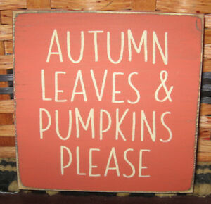 Primitive Country Autumn Leaves And Pumpkins Mini Sq Sign Fall Autumn Harvest