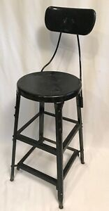 Vtg Mid Century Metal Black Shop Industrial Factory Steampunk Retro Stool 28