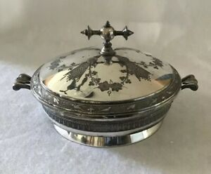 Antique 1880s Meridan B Company Aesthetic Movement Silver Plate Casserole W Lid