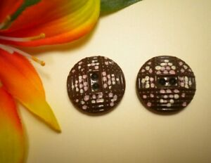 2 Antique China Pattern Eye Cross Buttons Brown With Paint 3 4