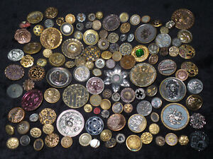 Lot Of 124 Antique Victorian Brass Cut Steel Animal Floral Picture Buttons