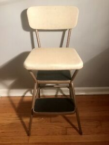 Vintage Yellow Cosco Step Stool Kitchen Metal Mcm Flip Top Chair