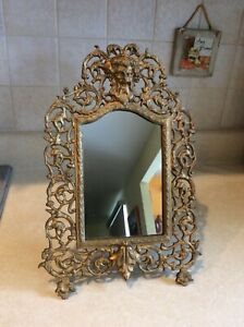 Antique Victorian Gilt Cast Iron Bacchus Mirror With Easel Stand