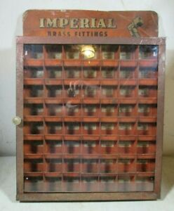 Vintage 1953 Imperial Brass Fittings Metal Parts Cabinet Store Display Case