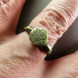 Ancient French 17th Century Copper Finger Ring Size 10 1 2
