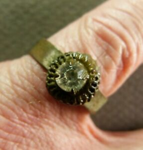 Ancient French Copper Ring With Stone Artifact Ca Early 20th Century Ad Size 8