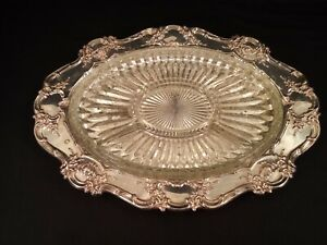 Towle Silverplate 4071 E P Serving Tray Silver Plated Platter W Glass Insert