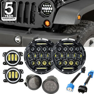 7 Led Drl Combo Headlight 4 Fog Light turn Signal For 07 18 Jeep Wrangler Jk