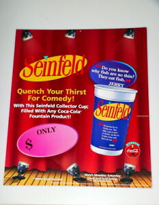 Scarce Jerry Seinfeld POP Coca Cola Coke Mobile Sign 3-D Promotional Drink Cup