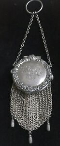 Antique Sterling Silver Mesh Circular Lid Coin Purse With Strap