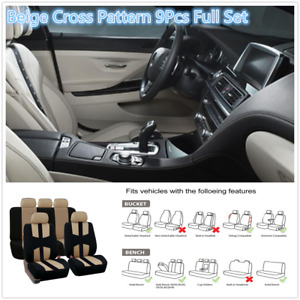 9x Beige Full Set Car Seat Covers Bird Eye Cloth Protector Cushion Cross Pattern