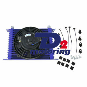 Universal 15row 10an Racing Engine Transmission Oil Cooler With 7 electric Fan