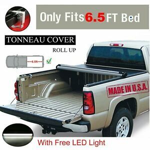 Premium Black 6 5ft Roll Up Tonneau Cover Bed 14 19 For Chevy For Silverado