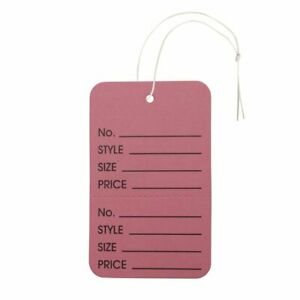Nahanco Large Pink Tag Strung Vertical Perforated Merchandise Tag Pack Of 1000
