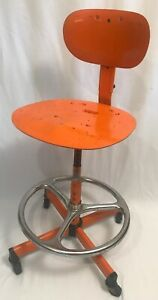 Vtg Cramer Kansas City Mcm Orange Steel Drafting Industrial Shop Chair Stool Usa