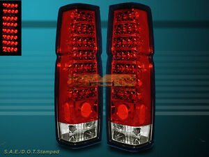 For 1986 1997 Nissan Hardbody Pickup D21 Red Clear Led Tail Lights