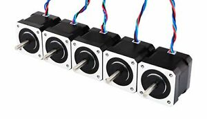 Stepperonline 5pcs Nema17 Stepper Motor 2a 64oz in 40mm Body 4 lead 1m Cable