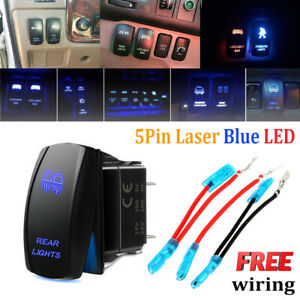 Blue Laser Rocker Switch Rear Led Light Bar On Off 5 Pins 12v 20a Car Truck Boat