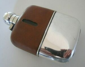 Silver Plated Leather Hip Flask Circa 1910