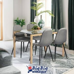 Modern Tempered Glass Top Contemporary Dining Table Kitchen Wood Legs Iron Tube