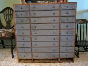 Primitive Hardware Parts Cabinet Wood Industrial Storage Farm Chest Vintage Box