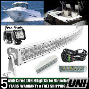 White Curved 50inch Led Light Bar 6 Pods Work Offroad For Marine Boat Ship