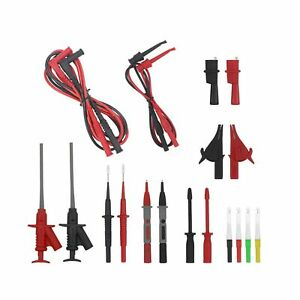 Electrical Multimeter Test Leads Kit With Alligator Clips Banana Plug Repla