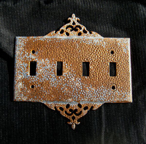 Vintage Retro 4 Toggle Copper Silver Color Metal Light Switch Cover Plate Eames