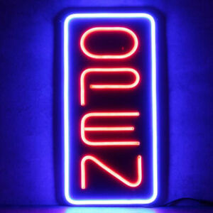 Vertical Neon Open Sign Light Open Signs Restaraunt Business Bar Bright