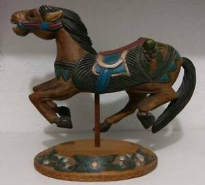 Antique Folk Art Hand Carved Wooden Carousel Horse Animal