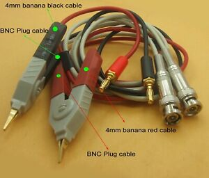 2 Set Lcr Meter Cable W 2 Bnc 2 Banana Plug Connectors Kelvin Clip Smd