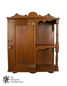 Early American Style Antique Pine Wall Hanging Medicine Cabinet Shelf Spice