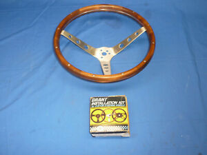 Vintage Nos Grant 15 Wood Aluminum Steering Wheel With 65 70 Ford Install Kit