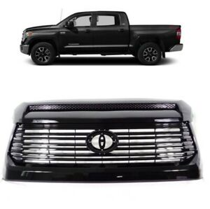 Fit For 15 18 Toyota Tundra Front Bumper Grille Grill And Upper Hood Bulge Black