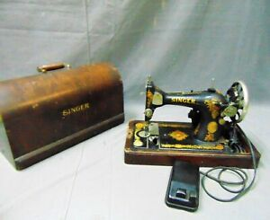 Vintage Antique 1910 Singer Model 15 Electric Sewing Machine With Oak Case