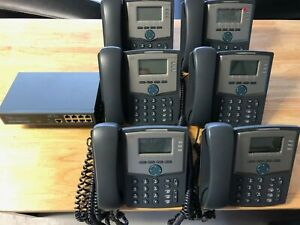 Voip Phone System Six Cisco Phones Eagle Eye 9 port Poe Switch