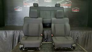 2008 Ford F150 Crew Cab Front Rear Power Bucket Front Seat Cloth Ebony Rb