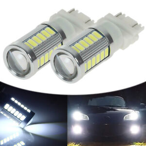 2pcs White 3157 Drl 33 Smd Daytime Running Led Lights Bulbs 4114 4157na 3047