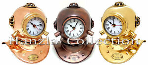 Set Of 3 Copper Brass Divers Diving Helmet Clock Antique Collectible Desk Decor