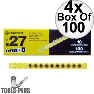 Ramset 4rs27 Box Of 100 4 yellow 27 Cal Strip Loads 4x New