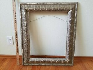 Large Antique Silver Gilt Wooden Frame For 16 X 20 Painting Or Picture