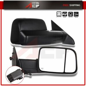 For 2009 2015 Dodge Ram 1500 Truck Pickup Black Power Heated Towing Mirrors Pair