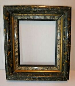 Antique Victorian Eastlake Marbled Carved Wood Gesso Picture Frame 8 3 4 X 11