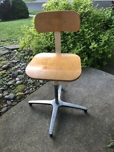 Vintage Ajusto Wooden Seat Drafting Stool Mid Century Modern Aluminum Base Chair